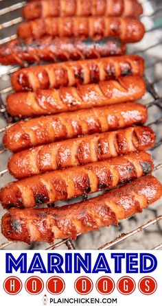 grilling recipes Marinated Grilled Hot Dogs - the BEST hot dogs we've ever eaten! Cut slits in the hot dogs and marinate in a combination of chili sauce, onion powder, garlic powder Dog Recipes, Sausage Recipes, Grilling Recipes, Beef Recipes, Cooking Recipes, Grilling Ideas, Healthy Grilling, Barbecue Recipes, Best Grill Recipes