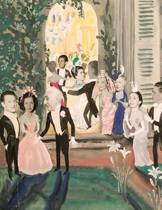 A reception given by the de Cabrol's, from the scrapbook of the Baron de Cabrol - watercolor & collage