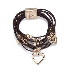 309086 - Bibi Bijoux Crystal Heart Leather Layered Bracelet - QVC Price: £49.50 + P&P: £3.95 in 3 colour options This layered bracelet features leather cords embellished with heart shapes and crystals. See the transforming effect this Bibi Bijoux accessory can have on a simple outfit.
