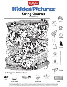 Hidden Object Puzzles, Hidden Picture Puzzles, Hidden Objects, Highlights Hidden Pictures, Hidden Pictures Printables, Coloring Books, Coloring Pages, Pictures On String, Class Pet