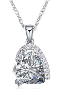 XCrystal - 18k White Gold Plated Trendy Crystal Heart Necklace