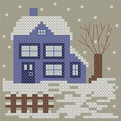 Blue house chart Cross Stitch House, Small Cross Stitch, Cross Stitch Needles, Cross Stitch Charts, Cross Stitch Patterns, Big Blue House, Cross Stitch Freebies, Christmas Cross, Winter Scenes