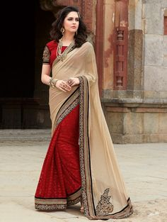 Cream and Red Shimmer Georgette Saree with Embroidery Work