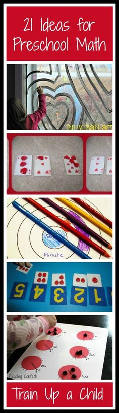 21 Hands on Ideas for Preschool Math. Blog has tons of fun ideas!