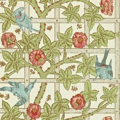 Trellis Wallpaper An iconic wallpaper featuring a garden trellis with climbing roses and birds in blue, coral and green on a cream ground. Designed by William Morris in 1864 and inspired by the courtyard garden at his home Red House.