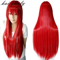 kai yunly 1PC 80CM Long Straight Cosplay Multicolor Heat Resistant Full Wig Hair Piece Hairpiece Red Sep 6