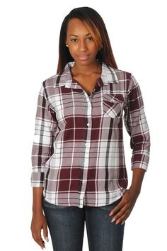 Plaid Button Down in Maroon, Black, Gray | Plus Sizes Available