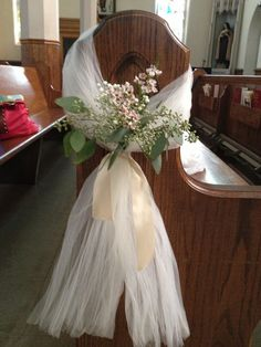 Pew bows Gypsophila pew end with tulle bow and trails. These tied ...