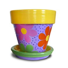 Hand Painted Flower Pots | Hand Painted Flower Pot Planter For Birthday Party Favors, Childrens ...