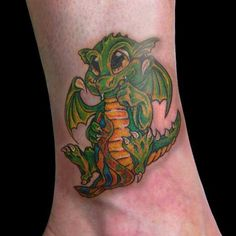 Awesome Baby Dragons | Baby Dragon Tattoo On The Leg | Full Tattoo