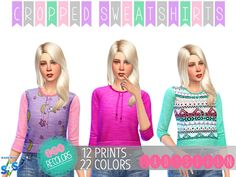 My Sims 4 Blog: Cropped Sweatshirts by LadySyrenSims