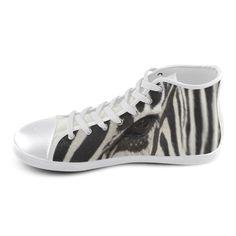 Zebra High Top Canvas Kid's Shoes. FREE Shipping. #artsadd #sneakers #zebra