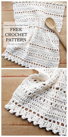 A sister pattern to the Home Sweet Home Table runner, this Dish Towel is the perfect addition to your boho or farmhouse chic style. Crochet Dish Towels, Crochet Potholders, Crochet Placemats, Cotton Crochet Patterns, Simple Crochet Patterns, Crochet Dishcloths Free Patterns, Simple Crochet Blanket, Crochet Video, Bobble Crochet