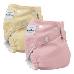 Fuzzi Elite Reusable Diapers (2 Pack) in buttercream/ cotton candy. $39.99
