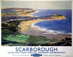 Poster produced for British Railways (BR) to promote rail travel to the coastal resort of Scarborough in Yorkshire cm) Fine Art Print Framed, Poster, Canvas Prints, Puzzles, Photo Gifts and Wall Art Posters Uk, Train Posters, Railway Posters, Beach Posters, Retro Posters, British Travel, British Seaside, British Isles, Poster Pictures