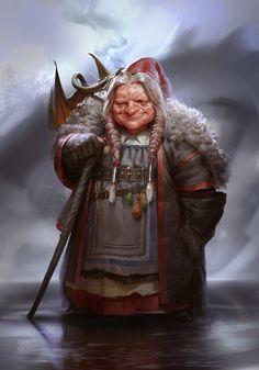 Dwarf female old crone healer mage matron staff