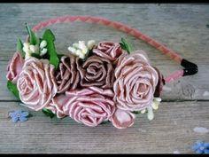 Ободок с розами в технике канзаши - Ярмарка Мастеров - ручная работа, handmade