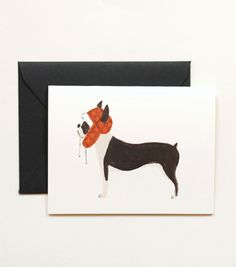 Boston Terrier Card from Rifle Paper Co.    http://riflepaperco.com/item/Boston_Terrier_Card/13/c47