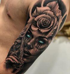 New Ideas skull art tattoo life Chicano Tattoos Sleeve, Forarm Tattoos, Best Sleeve Tattoos, Tattoo Sleeve Designs, Rose Tattoos, Leg Tattoos, Body Art Tattoos, Tattoo Art, Dead Rose Tattoo