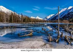 A Beautiful Alaskan Landscape of Water, Ice, and Mountains.