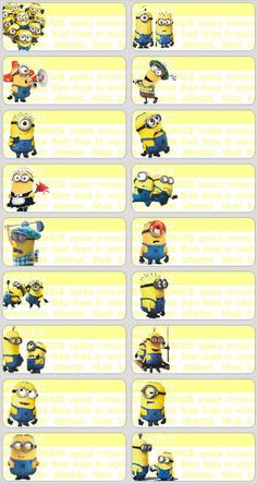 18 Minions Personalised name Label Sticker School vinyl despicable me Childcare