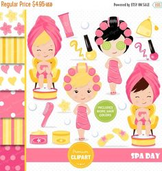"Spa girl clipart set! This clipart set is just what you needed for the perfect event & invitation creations, scrapbook, room decor, party themes and much more! --------------------------------- CONTINUE SHOPPING HERE https://www.etsy.com/shop/Premiumclipart --------------------------------- * YOU WILL RECEIVE: --------------------------------- - This collection includes 24 clipart elements and 6 digital papers - Each clipart saved separately in 6""x6"" 300 dpi PNG file..."