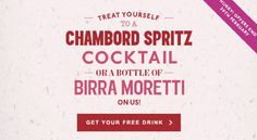 Pitcher and Piano is giving away a free Chambord Cocktail or bottle of Birra Moretti for anyone that registers with them before 29 February 2016.