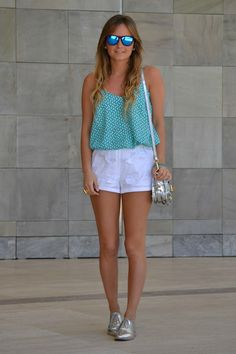 SILVER OXFORDS+SHORTS+BLUE GLASSES MIRROR+SILVER PURSE: HOT FOR SUMMER