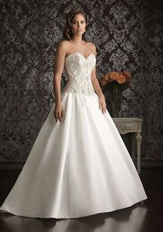 Dramatic Satin Dropped Waist Sweetheart Ball Gown Wedding Dresses