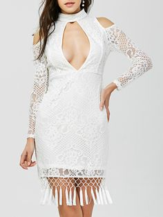 Cut Out Tasseled Bodycon Lace Dress Dresses For Teens, Modest Dresses, Fall Dresses, Summer Dresses, Club Party Dresses, Sexy Party Dress, Homecoming Dresses, Bridesmaid Dresses, Lace Dress