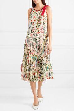 REDValentino | Bow-embellished pleated printed crepe dress | NET-A-PORTER.COM