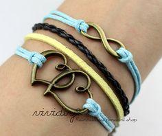Antique bronze Infinity wish bracelet-Heart to heart bracelet-wax cord leather handmade jewelry-charm bangle women or men gift