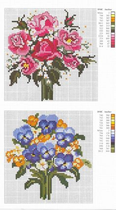 gráficos de flores em ponto cruz Beaded Embroidery, Embroidery Stitches, Hand Embroidery, Embroidery Designs, Beaded Cross Stitch, Cross Stitch Flowers, Cross Stitch Patterns, Diy Recycling, Woodland Party