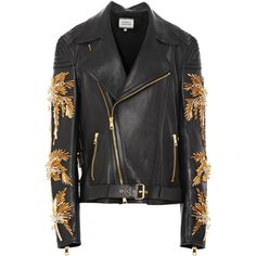 Fausto Puglisi Calf Leather Moto Jacket With Palm Tree Embroidery ($82,560) ❤ liked on Polyvore featuring outerwear, jackets, coats & jackets, biker jacket, calfskin jacket, palm tree jacket, long sleeve jacket and motorcycle jackets