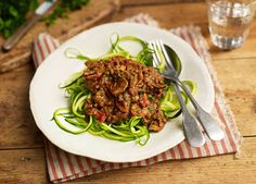 Porcini mushrooms givebolognese a flavour boost and courgettia healthier twist