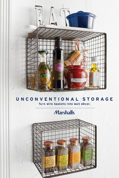 Unconventional kitchen! Mount wire baskets on your wall to store cooking oils, sauce jars, gourmet pasta and spices. Stack a few extras on top, like decorative accessories, marble cutting boards or cast iron pots. Pull out your favorites and put them on display! Visit Marshalls today to inspire your new storage ideas.