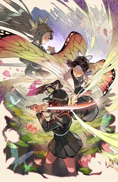 KNY (Demon Slayer) - Shinobu Kocho and Kanao print Anime Angel, Anime Demon, Demon Slayer, Slayer Anime, Chica Anime Manga, Anime Art, Animes Wallpapers, Anime Characters, Fanart