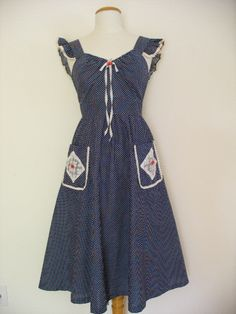 Country Girl Vintage 50s Red Cherry Dress in by VintageEclectica, $149.00