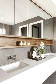 55 Stunning Farmhouse Bathroom Mirror Design Ideas And Decor - . 55 Stunning Farmhouse Bathroom Mirror Design Ideas And Decor - Always aspired. House Bathroom, Bathroom Interior Design, Bathroom Styling, House Interior, Modern Bathroom, Amazing Bathrooms, Farmhouse Bathroom Mirrors, Luxury Bathroom, Bathroom Mirror Design