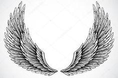 Baixar - Asas em fundo branco — Imagem de Stock #3526855 Foot Tattoos, Body Art Tattoos, Tribal Tattoos, Small Tattoos, Stencils Tatuagem, Tattoo Stencils, Wings Tattoo Meaning, Tattoos With Meaning, Neck Tattoo For Guys