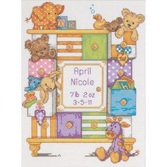 <li>Cute and cuddly items for baby</li> <li>Adorable designs and soft fabrics are brought to you by Dimensions Crafts</li> <li>Frames/mats are not included</li>