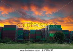 Cargo containers at sunset