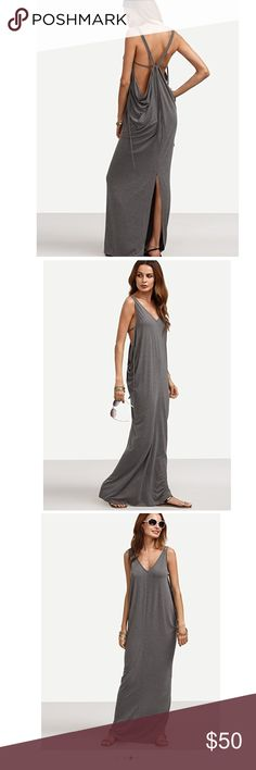Casual Loose Long V Neck Backless Maxi dress Casual Loose Long V Neck Backless Split Maxi Dress. Very comfortable. Take it with you on your next vacation or beach day. Very sexy. You can wear it as shown in the picture or tie the two strings in the front, that's how my sister wears hers.    The green is XS but it fits the just like small. I paid more for the green so it will be $5 more  Length is 59.50 - 61 inches Dresses Backless
