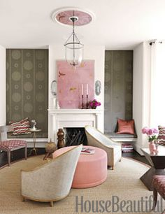 Living room...pink accents