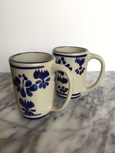 Set of Two Talavera Style Mugs in Blue and by MiCasaEsSuCasaShop