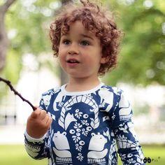 ULJAS shirt, Gates of Pohjola, blueberry - PaaPii Design Made By Dawn, Nursery Fabric, Love Bear, White Bears, Organic Cotton, Brown Bear, Knitting, Leggings, Play