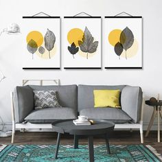 Modern Abstract Yellow Circle Transpar Leaf Nordic Wooden Framed Poster For Living Room Home Deco Canvas Painting Picture Scroll Living Room Decor On A Budget, Living Room Paint, Yellow Artwork, Nordic Living Room, Grey Home Decor, Bedroom Decor, Wall Decor, Frames For Canvas Paintings, My New Room