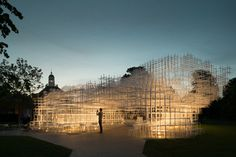 Serpentine Pavilion by Japanese architect Sou Fujimoto. Open for 3 weeks in London's Kensington Gardens.