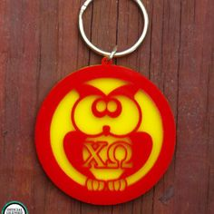Greek Licensed - Chi Omega Owl Keychain by My Capital Letters www.mycapitalletters.com