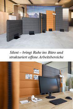 """Akustik: Silent von Febrü – bringt Ruhe und strukturiert offene Arbeitsbereiche. Das modulare Trennwandsystem """"Silent"""" von Febrü lässt variable und jederzeit veränderbare Möglichkeiten zu und sorgt ganz nebenbei für eine loungige Arbeitsatmosphäre."""